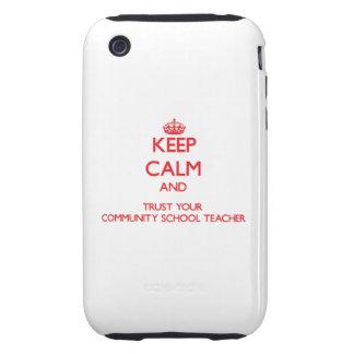Guarde la calma y confíe en a su profesor de escue tough iPhone 3 cárcasa