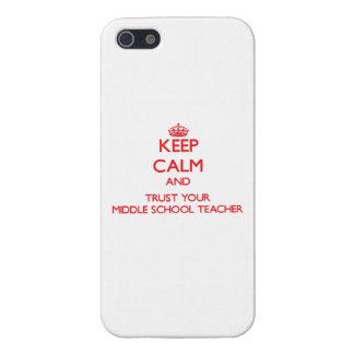 Guarde la calma y confíe en a su profesor de escue iPhone 5 funda