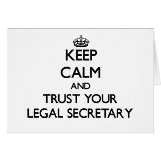 Guarde la calma y confíe en a su secretaria legal tarjeton