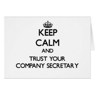 Guarde la calma y confíe en a su secretario de la  tarjetón