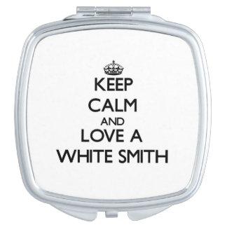 Guarde la calma y confíe en a su Smith blanco Espejos De Maquillaje