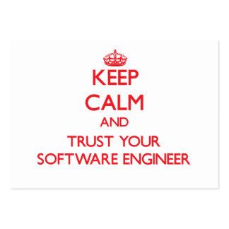 Guarde la calma y confíe en a su Software Engineer Tarjetas De Visita Grandes