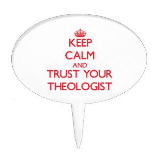 Guarde la calma y confíe en a su teólogo decoraciones de tartas