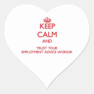 Guarde la calma y confíe en a su trabajador del co colcomanias corazon