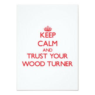 Guarde la calma y confíe en a su Turner de madera Invitación 12,7 X 17,8 Cm