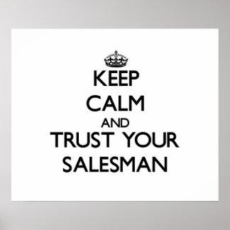 Guarde la calma y confíe en a su vendedor póster