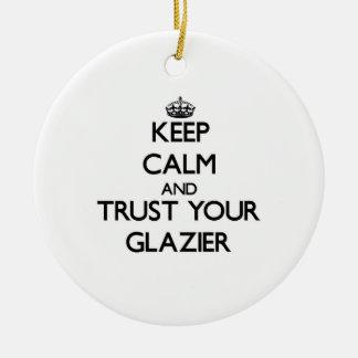 Guarde la calma y confíe en a su vidriero ornaments para arbol de navidad