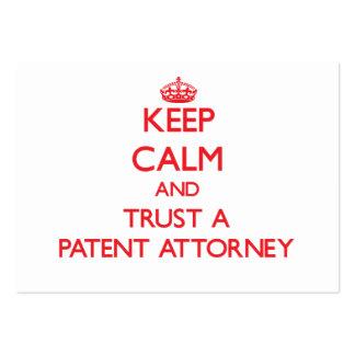 Guarde la calma y confíe en a un abogado de patent tarjetas de visita