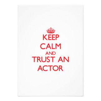 Guarde la calma y confíe en a un actor invitaciones personales
