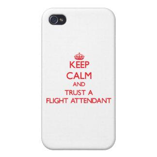 Guarde la calma y confíe en a un asistente de vuel iPhone 4 carcasa