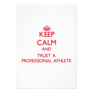 Guarde la calma y confíe en a un atleta profesiona comunicado
