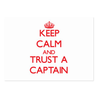 Guarde la calma y confíe en a un capitán tarjetas de visita grandes