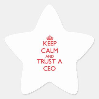 Guarde la calma y confíe en a un CEO Pegatinas Forma De Estrellaes