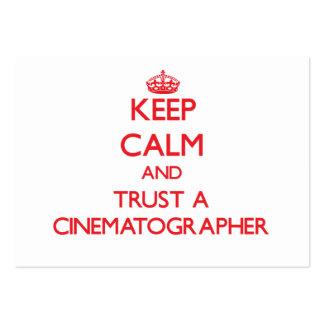 Guarde la calma y confíe en a un cinematógrafo plantillas de tarjetas personales
