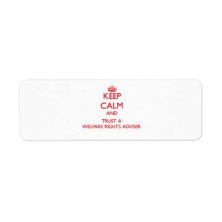 Guarde la calma y confíe en a un consejero de las  etiqueta de remite