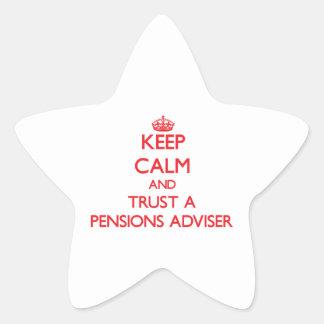 Guarde la calma y confíe en a un consejero de las calcomania forma de estrella personalizada