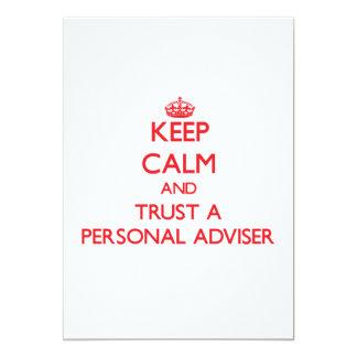 Guarde la calma y confíe en a un consejero invitación 12,7 x 17,8 cm