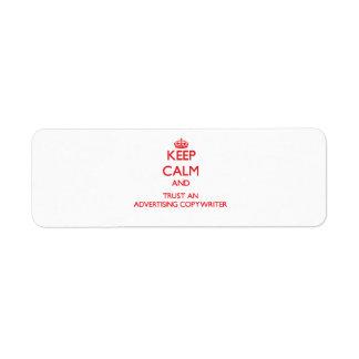 Guarde la calma y confíe en a un Copywriter de la  Etiqueta De Remite