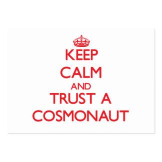 Guarde la calma y confíe en a un cosmonauta tarjeta de visita
