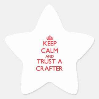 Guarde la calma y confíe en a un Crafter Colcomanias Forma De Estrellas