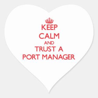 Guarde la calma y confíe en a un encargado del pegatina corazón