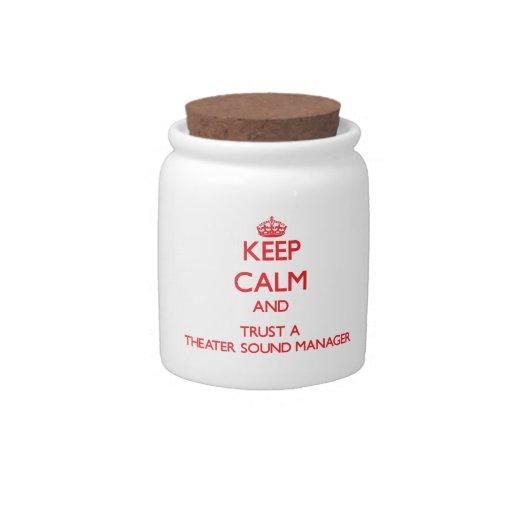 Guarde la calma y confíe en a un encargado del son jarra para caramelo