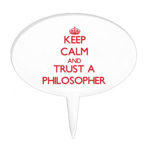 Guarde la calma y confíe en a un filósofo figuras de tarta