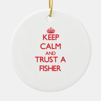 Guarde la calma y confíe en a un Fisher Ornamento De Reyes Magos
