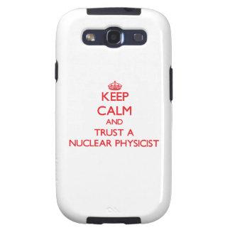 Guarde la calma y confíe en a un físico nuclear samsung galaxy s3 carcasas