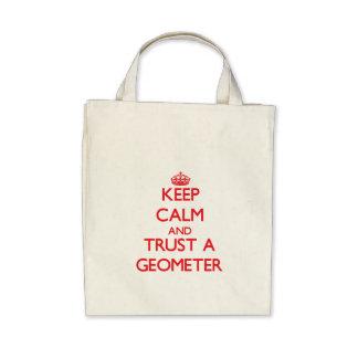 Guarde la calma y confíe en a un geómetra bolsa lienzo