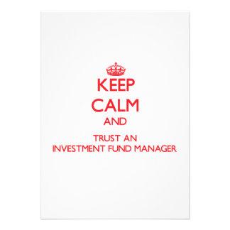 Guarde la calma y confíe en a un gestor de fondos invitación personalizada
