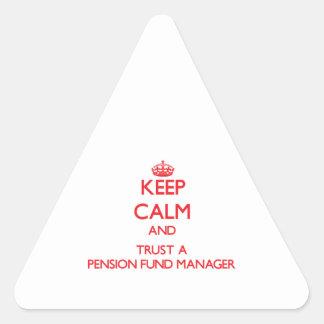 Guarde la calma y confíe en a un gestor de fondos pegatina triangular