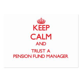 Guarde la calma y confíe en a un gestor de fondos  tarjetas de visita