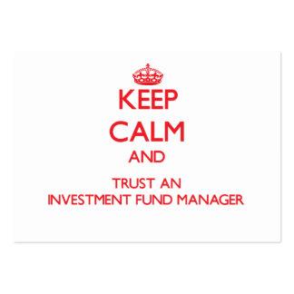 Guarde la calma y confíe en a un gestor de fondos  plantillas de tarjeta de negocio