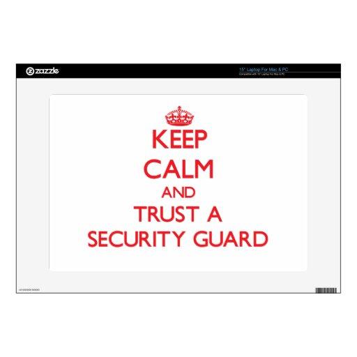 Guarde la calma y confíe en a un guardia de seguri calcomanía para 38,1cm portátil