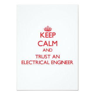 """Guarde la calma y confíe en a un ingeniero invitación 5"""" x 7"""""""