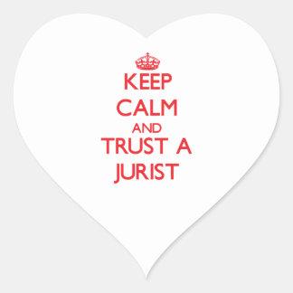 Guarde la calma y confíe en a un jurista calcomanías de corazones