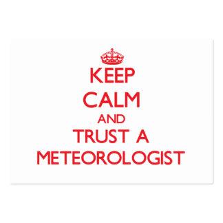 Guarde la calma y confíe en a un meteorólogo tarjetas de visita