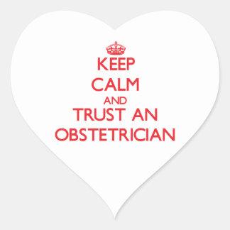 Guarde la calma y confíe en a un obstétrico pegatina de corazón