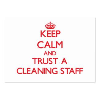 Guarde la calma y confíe en a un personal de limpi tarjetas de visita grandes