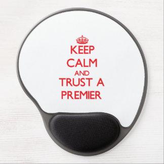 Guarde la calma y confíe en a un primero ministro alfombrillas de ratón con gel