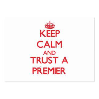 Guarde la calma y confíe en a un primero ministro tarjetas de visita grandes