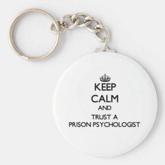 Guarde la calma y confíe en a un psicólogo de la llavero redondo tipo pin