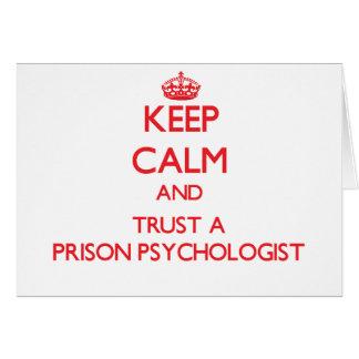 Guarde la calma y confíe en a un psicólogo de la p tarjeta de felicitación