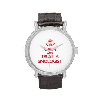 Guarde la calma y confíe en a un Sinologist Reloj De Mano