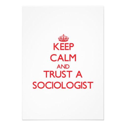 Guarde la calma y confíe en a un sociólogo comunicados personales