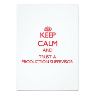 """Guarde la calma y confíe en a un supervisor de la invitación 5"""" x 7"""""""