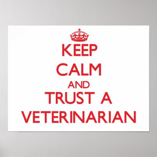 Guarde la calma y confíe en a un veterinario póster