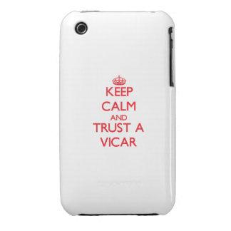 Guarde la calma y confíe en a un vicario iPhone 3 Case-Mate protectores
