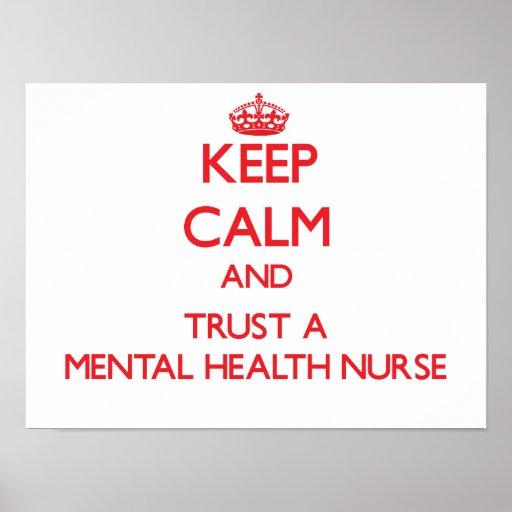 Guarde la calma y confíe en a una enfermera de sal póster